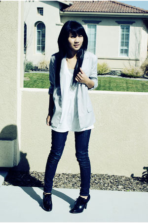 silver Forever 21 blazer - white Forever 21 t-shirt - Pac Sun jeans - black payl