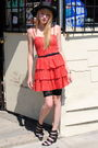 Red-h-m-dress-urban-outfitters-hat-h-m-shorts-forever-21-shoes