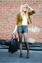black shorts - vintage blazer - Forever 21 shoes