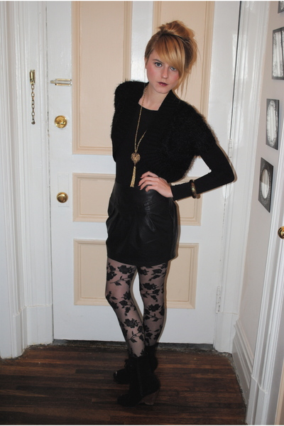skirt - top - Urban Outfitters boots - necklace - H&M tights -