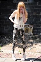 Jeffrey Campbell shoes - UO leggings - vintage sweater - Made Her Think necklace