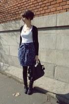 black New Yorker boots - black next bag - deep purple H&M skirt - white New York