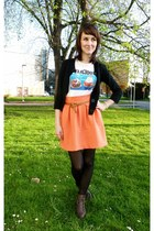 dark brown New Yorker boots - white reserved t-shirt - salmon H&M skirt - black