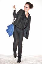 black Zara shoes - blue Zara accessories - black H&M Trend blazer - black Kate M