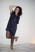 blue Topshop dress - beige Janet&Janet shoes - black H&M tights - silver H&M nec