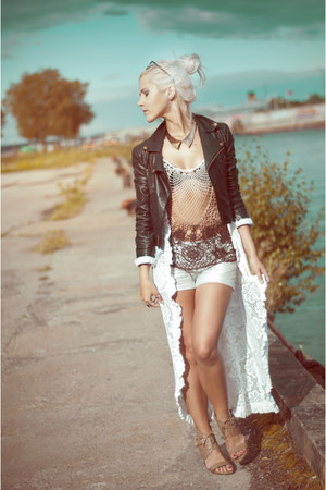 lindex shorts - HOGL shoes - leather jacket - lindex necklace - top