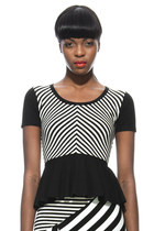 Chevron Stripe Knit Peplum Top