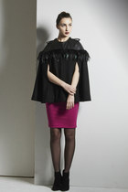 The Stars Cape- Leather Feather Wool Cape