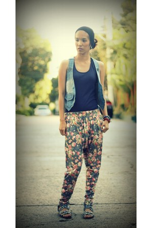 floral harem pants - laced tank top - denim vest - studded flats