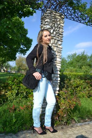 black lace Sheinsidecom blouse - Lovelyshoes heels - Stradivarius pants