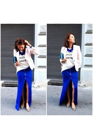 blue KaL skirt - light pink Zara blazer