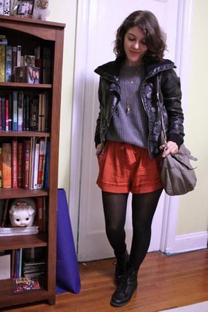 burnt orange paper-bag waist Urban Outfitters shorts