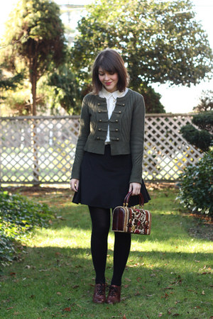 white classic H&amp;M blouse - army green military H&amp;M sweater