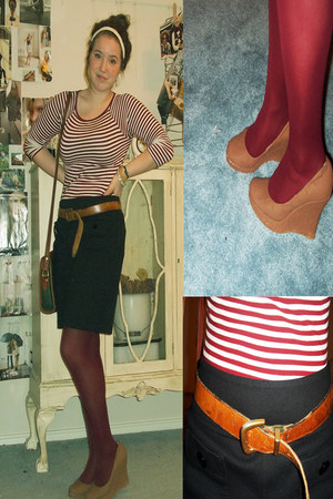 striped Thrift Store shirt - DSW tights - brown orange Thrift Store belt - strai