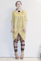 yellow Vero Moda Very dress - black DIY leggings - brown ASH shoes - black Pilgr