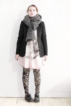 pink Zara dress - black Filippa K blazer - black vagabond shoes - beige Marjan P