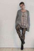 silver COS cardigan - silver GINA TRICOT vest - silver GINA TRICOT blouse - brow