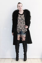 black Filippa K coat - black Zara second hand vest - beige H&M tights - blue H&M