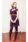 Purple-forever-21-dress-brown-unknown-belt-purple-unknown-tights-pink-winn