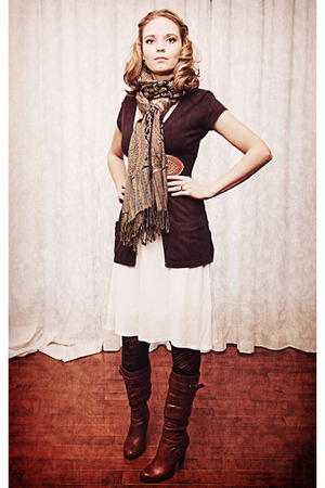 white Zara dress - brown Rickis Fashion cardigan - brown modcloth belt - brown A
