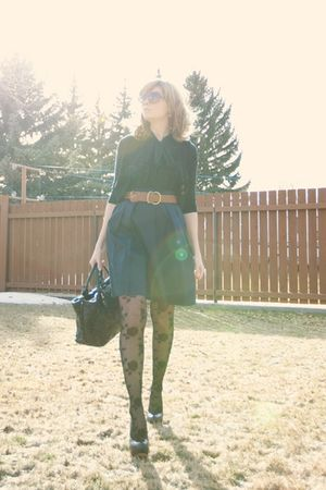 black ruffled Dynamite shirt - black pumps Aldo shoes - black Ebay tights