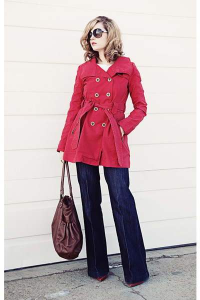 red BB Dakota jacket - Bootlegger jeans - red Steve Madden shoes - brown unknown
