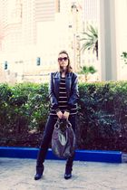 black Hurley jacket - black Zara shirt - black Rag n Bone jeans - silver Guess p