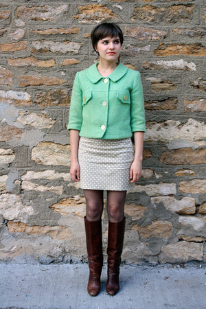 green vintage jacket - beige Old Navy skirt - brown vintage boots