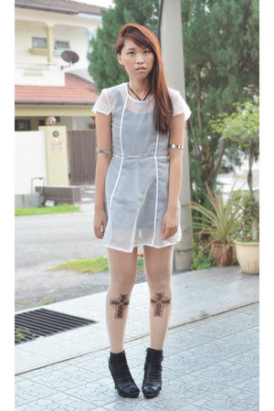 white sheer DIY handmade dress - black ankle boot Fioni heels