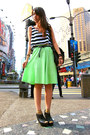 Black-mango-bag-mustard-socks-chartreuse-maxi-skirt-black-peep-toe-clogs-