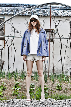 white unknown hat - blue denim J Koo jacket - white lace Zara shorts