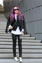 white menswear Club Monaco shirt - white Crese dim shoes - black JKOO jacket