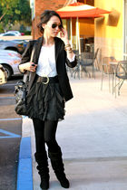 white unknown blouse - black Korean jacket - black Tomimito tights - H&M skirt -