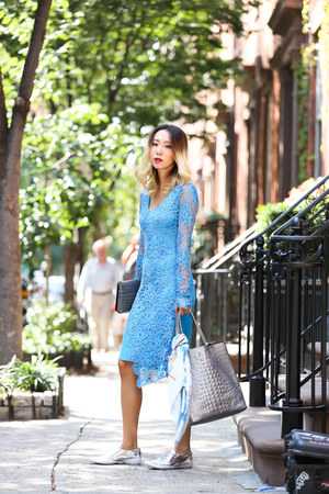 sky blue lace Yuna Yang dress - light blue Hermes scarf