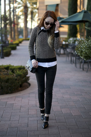 black wool Club Monaco sweater - black smile market jeans - white H&amp;M shirt