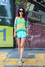 Aquamarine-zara-shorts-turquoise-blue-marc-bernson-sandals