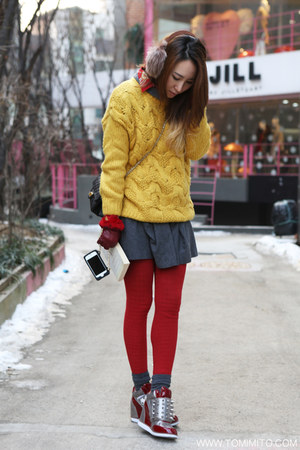 gray H&amp;M dress - mustard G-market sweater - brick red vintage shirt