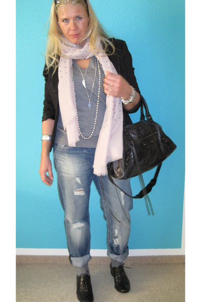 black blazer - gray Mango shirt - pink Zara scarf - H&amp;M jeans - black balenciaga