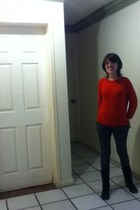 red H&M cardigan - black Vicenza boots - black and gray Area Code leggings