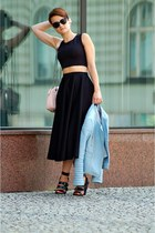 black Zara heels - light blue Zara jacket - black asos skirt - black top