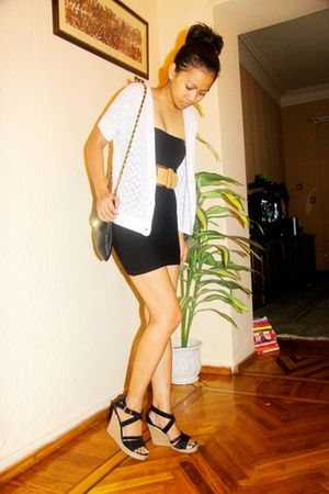 white Mango cardigan - black Mango - brown Mango belt - shoes - black Topshop