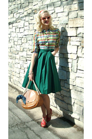 anthropologie sunglasses - 1950s dress - 1950s purse - forever wedges