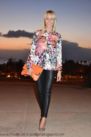 hot pink Zara blouse - carrot orange BLANCO bag - black Zara pants