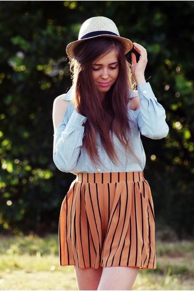 light blue romwe shirt - burnt orange Love shorts