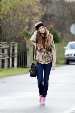 DIY accessories - Zara pants - vintage shoes - Miss Selfridge bag