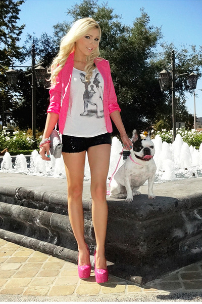 hot pink Im Haute blazer - tweed Im Haute bag - sequin Im Haute shorts