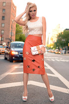 faux leather Im Haute skirt - clutch Louis Vuitton bag - lace Im Haute top
