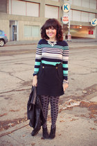 stripes JCrew t-shirt - leather studs Zara jacket - polka dots JCrew tights