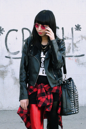 brick red PERSUNMALL boots - SENSATION OF NIGHT leggings - plaid Vesst shirt