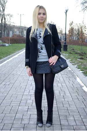heather gray Sheinside sweatshirt - black Sheinside coat